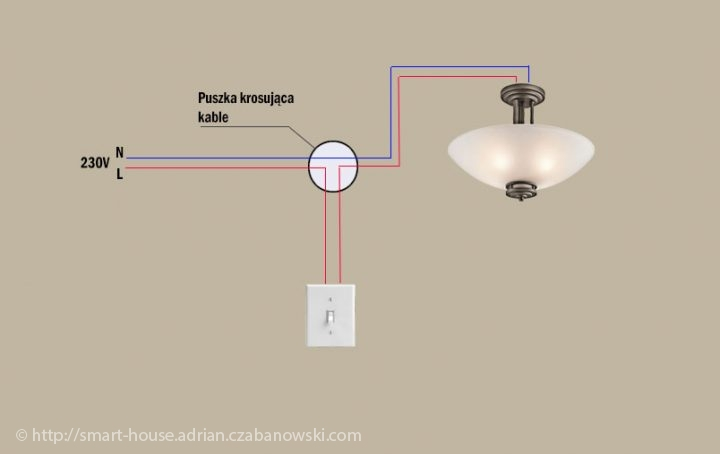Schemat: podłączenie lampy sufitowej