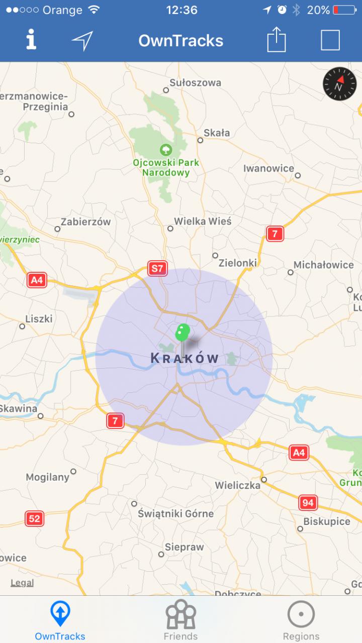 owntracks region