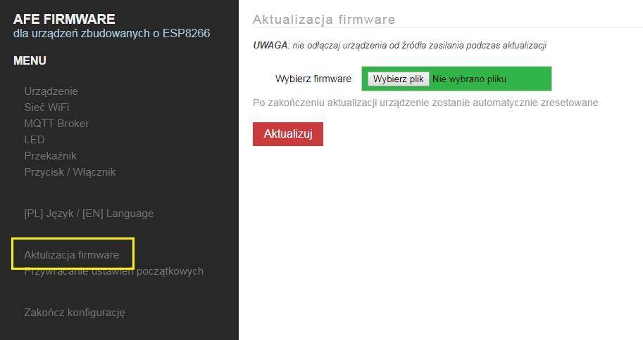 AFE Firmware; aktualizacja oprogramowania