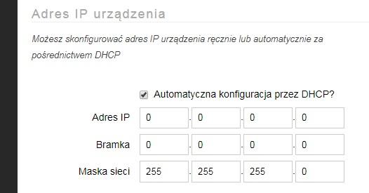 AFE Firmware: Panel Konfiguracyjny: Adres IP