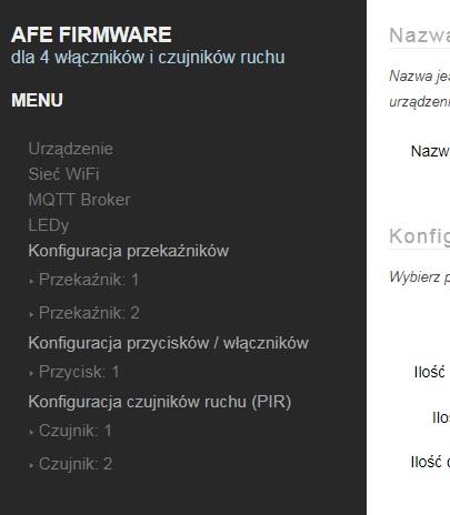 AFE Firmware T3: Panel konfiguracyjny: menu