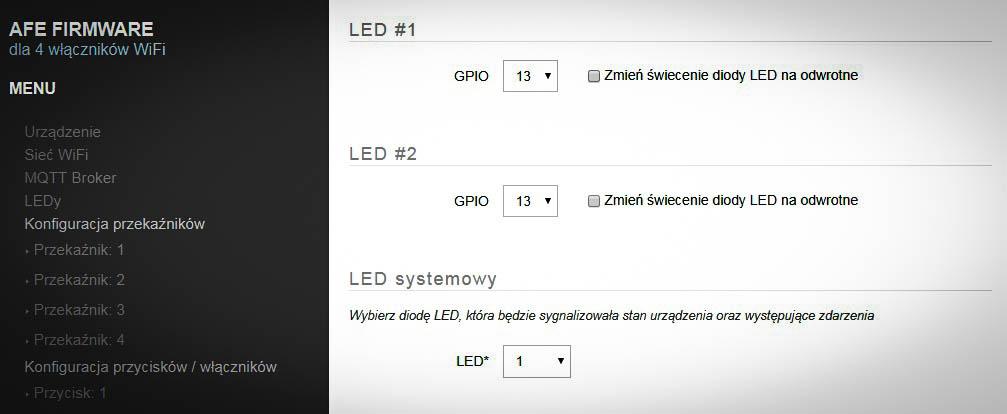 Ekran konfiguracji diod LED