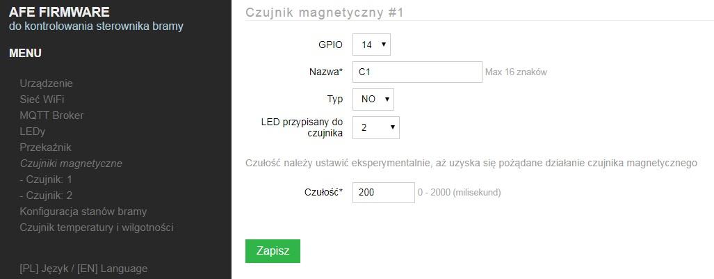 Ekran konfiguracji czujnika magnetycznego