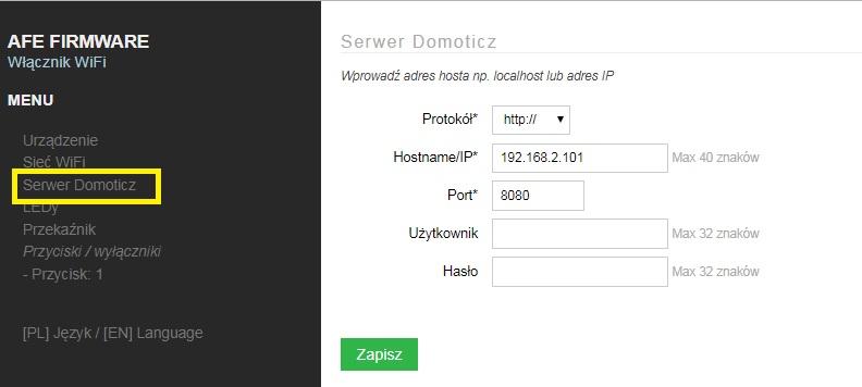 T0 Konfiguracja serwera Domoticz