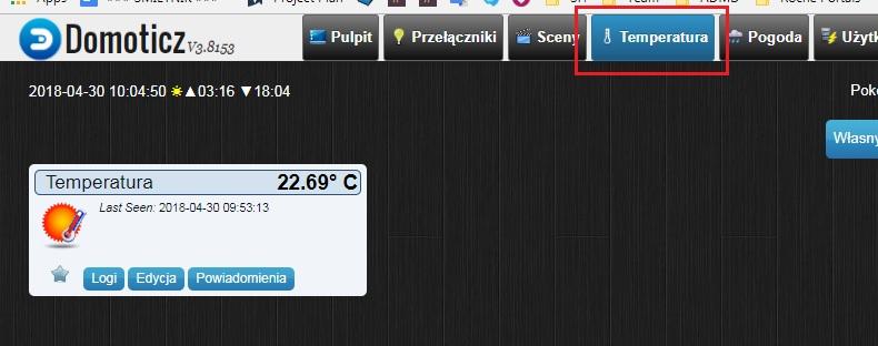 Temperatura w domoticz