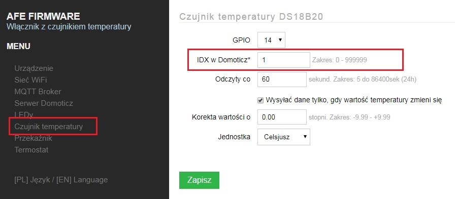 Dodawanie IDX do DS18B20 w AFE