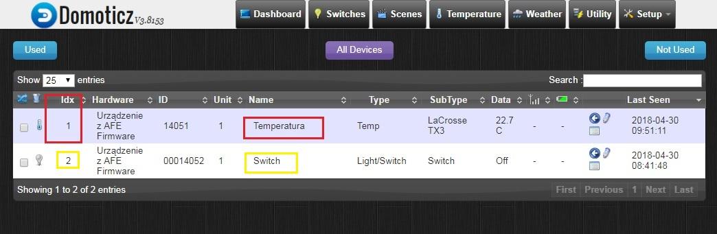 IDX czujnika temperatury