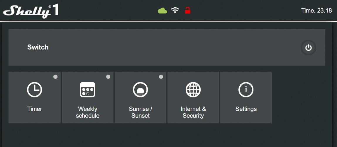 Shelly 1 - Serwer web